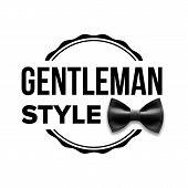Gentleman Label . Design. Classic Sir. Bow Tie Illustration poster