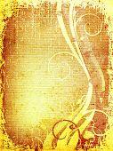 grunge foliage design on textured paper background poster