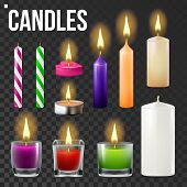 Candles Set . Different Types Of Paraffin, Wax Burning Candles. Classic, Glass Jar, For Cake. Party Candle Light Icon. Background. Realistic Illustration poster