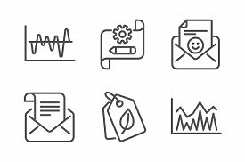 Bio Tags, Stock Analysis And Cogwheel Blueprint Icons Simple Set. Mail Newsletter, Smile And Investm