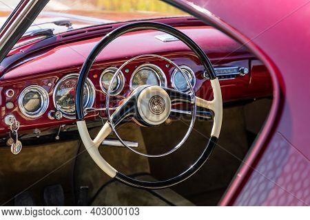 Prague, Czech Republic - August 6, 2020: Interior Of Old Alfa Romeo Vehicle In Prague, Czech Republi