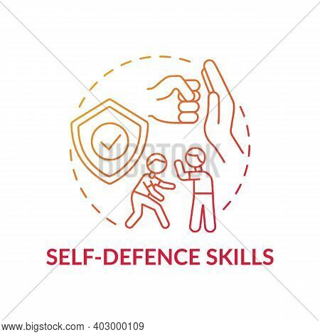 Self-defense Skills Red Gradient Concept Icon. Practice Fighting. Martial Art Classes. Protection Fr