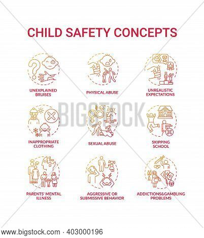 Child Safety Red Gradient Concept Icons Set. Parental Neglect. Domestic Abuse. Children Welfare. Kid