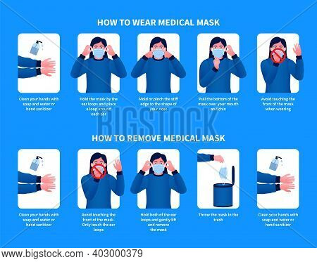 How To Wear And Remove Medical Mask Modern Design. Step By Step Infographic Illustration Of How To U