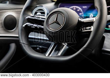 Prague, Czech Republic - November 3, 2020: Steering Wheel Of Mercedes-benz Vehicle In Prague, Czech