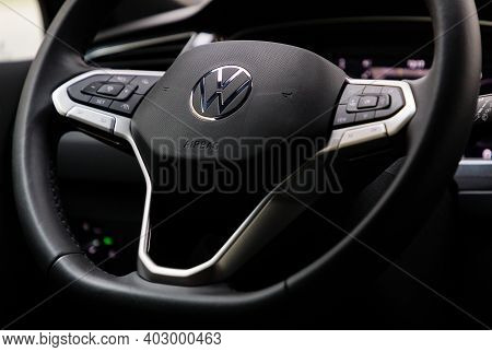 Prague, Czech Republic - November 10, 2020: Steering Wheel Of Volkswagen Vehicle In Prague, Czech Re
