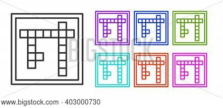 Black Line Bingo Icon Isolated On White Background. Lottery Tickets For American Bingo Game. Set Ico