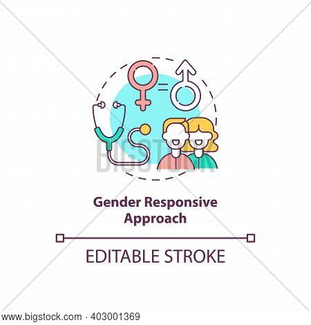 Gender Responsive Approach Concept Icon. Health Programs Principles. Factors At Work In Health Syste