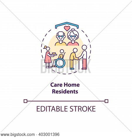 Care Home Residents Concept Icon. Covid Vaccination Priority List. Helping People At Home. Health Ca