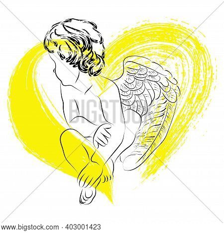 Vector Linear Illustration Of Cute Little Cupid On A Yellow Heart Background. Isolated Image Of An A