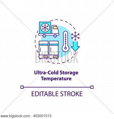 Ultra Cold Storage Temperature Concept Icon. Covid Vaccination. Special Surrounding For Medicaments.