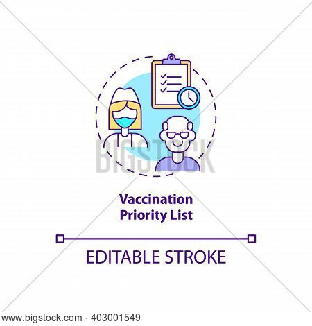 Vaccination Priority List Concept Icon. Covid Vaccination. Number Of People Who Need Special Treatme