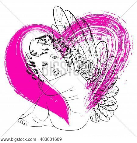 Vector Linear Illustration Of A Sitting Little Cupid With Wings On The Background Of A Red Heart. Is