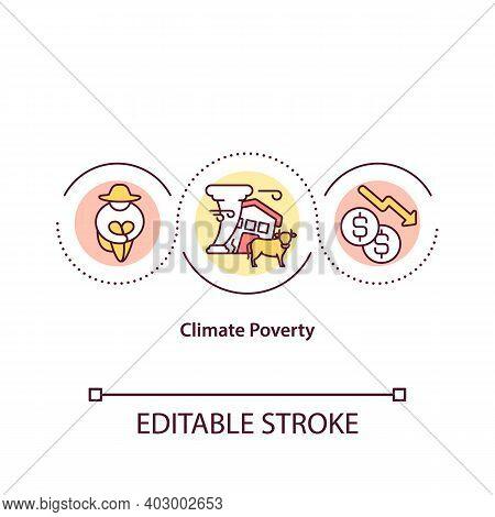 Climate Poverty Concept Icon. Ecology Problem Idea Thin Line Illustration. Climate Change Effect Vec