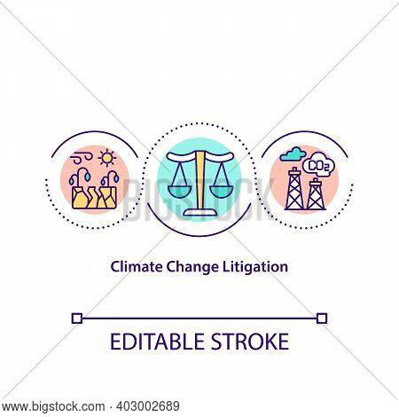 Climate Change Litigation Concept Icon. Environmetnal Justice Idea Thin Line Illustration. Climate C