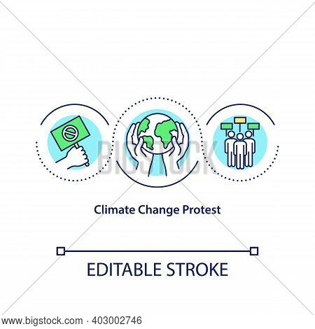 Climate Change Protest Concept Icon. Climate Justice Idea Thin Line Illustration. Environmental Acti