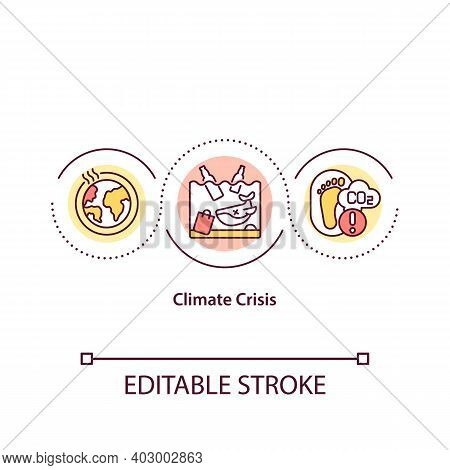 Climate Crisis Concept Icon. Saving Nature Idea Thin Line Illustration. Climate Justice. Vector Isol