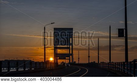 View Of A Beautiful Sunset In Background Of Mare Island In Vallejo, Ca. , Solano County Seen From Th