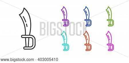 Black Line Pirate Sword Icon Isolated On White Background. Sabre Sign. Set Icons Colorful. Vector
