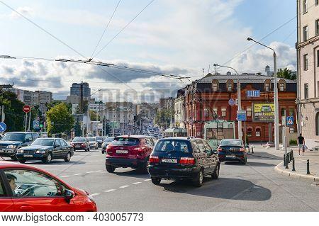 Minsk, Belarus - July 11, 2019: Heavy Traffic On The Road In A City Center Of Minsk, Belarus