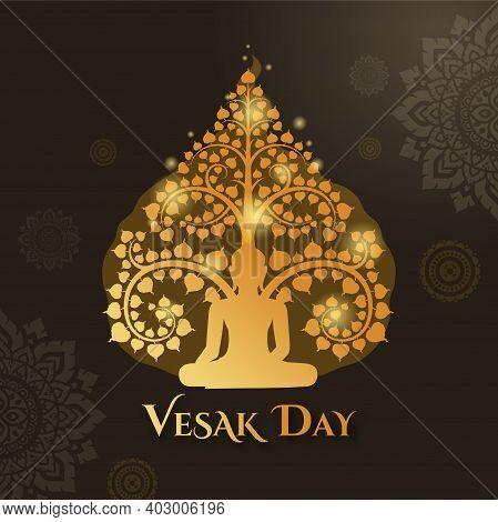 Vesak Day With Buddha Sitting Under Bodhi Tree And Thai Art Pattern Decoration Background