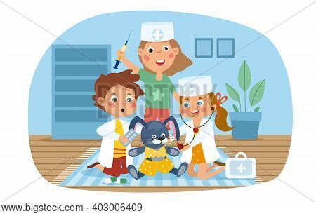 Three Young Kids Playing Fancy Dress Pretending To Be Doctors Or Nurses In Uniform With Bunny Rabbit