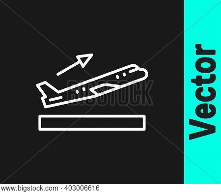 White Line Plane Takeoff Icon Isolated On Black Background. Airplane Transport Symbol. Vector