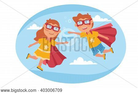 Two Young Kids Pretending To Be Super Heroes Floating In The Sky Wearing Red Capes And Goggles, Colo