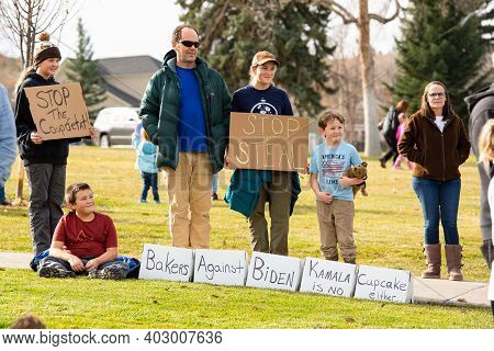Helena, Montana / Nov 7, 2020: Protesters At 'stop The Steal' Rally, Children Holding Signs Presiden