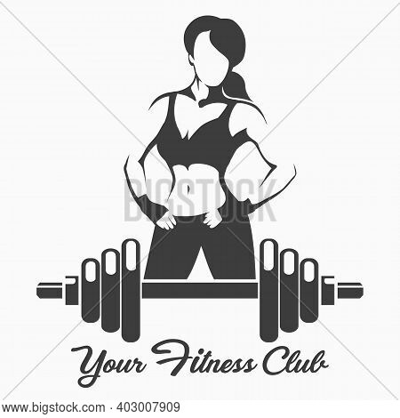 Fitness Logo Or Emblem With Posing Sporty Woman And Dumbbell. Vector Illustration.