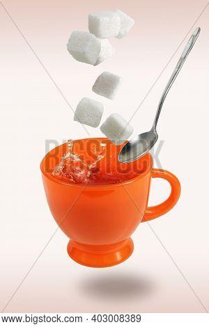 Levitating Orange Teacup Flying Spoon And Sugar Cubes
