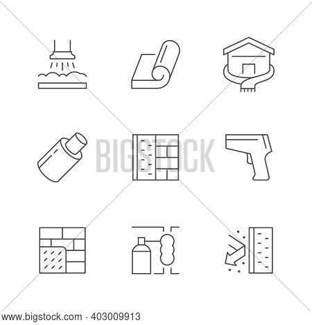 Set Line Icons Of Insulation Isolated On White. Foam, Brick Wall, Thermal Imager, Home Construction,