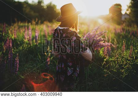Stylish Woman Gathering Lupine In Wicker Rustic Basket In Sunset Light In Field. Atmospheric Moment