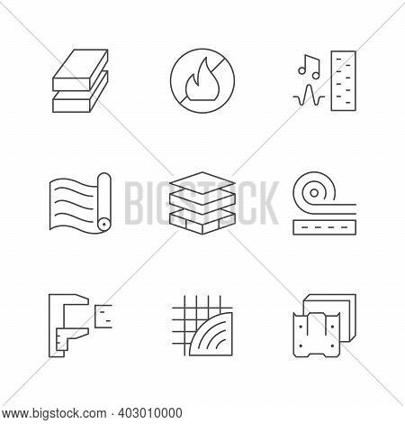 Set Line Icons Of Insulation Isolated On White. Soundproof Material, Multilayer, Membrane, Home Cons