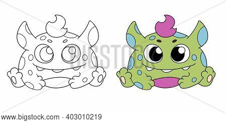 Cute Little Monster Color And Bw Illustration Vector Eps10