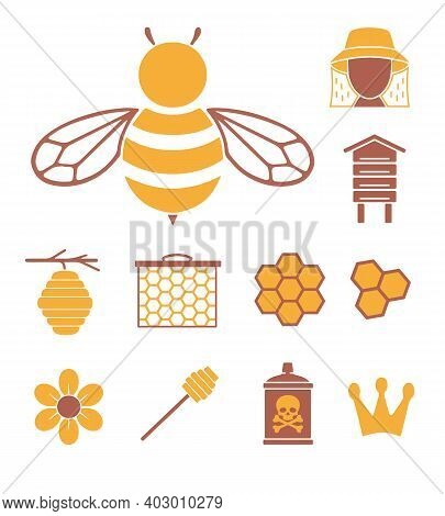 Vector Icons Set For Creating Infographics Related To Bees, Pollination And Beekeeping Like  Flower,
