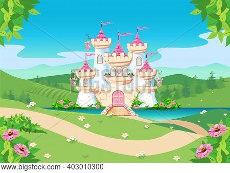 Fabulous Background With The Princess Castle By The Lake In The Forest. Castle With Pink Flags, Prec