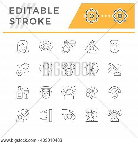 Set Line Icons Of Stress And Depression Isolated On White. Anger, Rage, Phobia, Fear, Suicide, Emoti