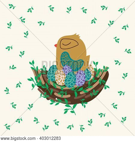 Postcard Cute Bird's Nest. Cute Easter Poster With A Nest. A Hen Hatches Eggs In Her House. Spring I