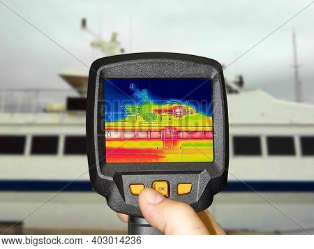 Recording Heat Loss Outside Anchored Luxury Private Motor Yacht Using Infrared Thermal Camera