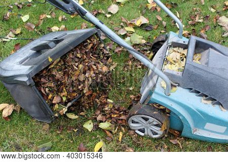 An Open Lawn Mower Container Filled With Clipped Grass And Leaves. A Modern Electric Lawn Mower On A