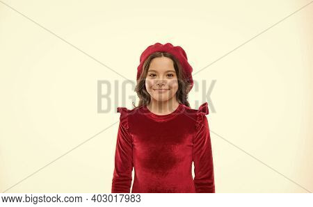Kid From Paris. French Style Child. Parisian Girl In Beret. Cute Girl With Dark Hair. Stylish Brunet