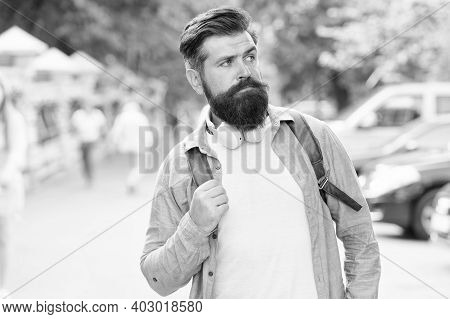 Long Beard Is Style For Him. Bearded Man Travel Urban Outdoors. Hipster With Stylish Beard Hair. Bea