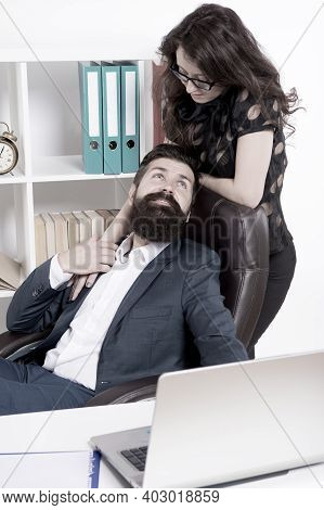 Love Is Everywhere. Love Affair Of Businessman And Sexy Woman. Couple In Love Conducting Affair At W