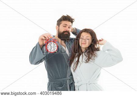 Couple Awakening Hold Alarm Clock. Family Morning Routine. Create Healthy Rest Regime To Sleep Enoug