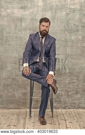 Classy Style Is Timeless. Stylish Businessman Sit On Chair. Bearded Man In Formal Style. Professiona
