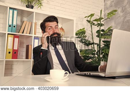 Communicating With Clients. Arrange Supply Materials And Goods. Businessman Phone Conversation. Mobi