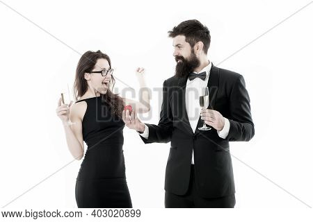She Said Yes. Man With Beard And Woman Happy Celebrate Anniversary. Couple In Love Dating Anniversar
