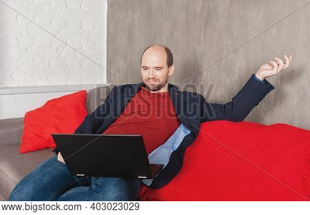 Business Man With Laptop Working Or Study At Home