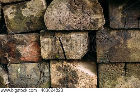 Stack Of Old Firewood Texture Background. Firewood For The Winter, Stacks Of Firewood, Pile Of Firew